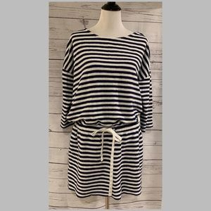Vineyard Vines Stripe 3/4-Sleeve Drawstring Dress